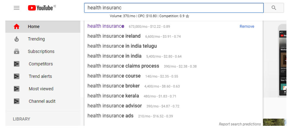 Using Keywords Everywhere Chrome Extension to discover topics related to 'health insurance' with search volume shown for each suggestion.