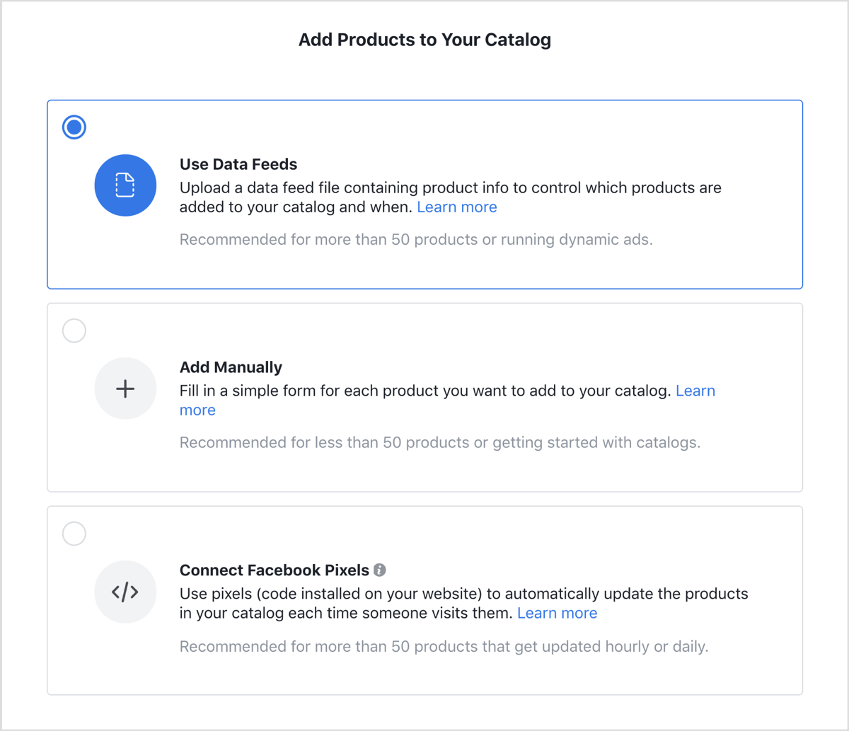 Ad product screen in Facebook dynamic ads