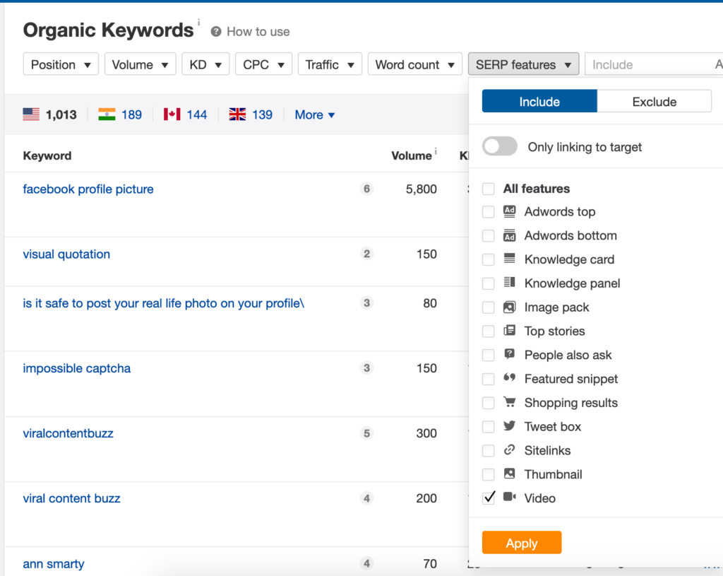 Ahrefs tool showing organic keywords for YouTube videos
