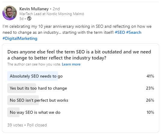 Poll on the state of SEO