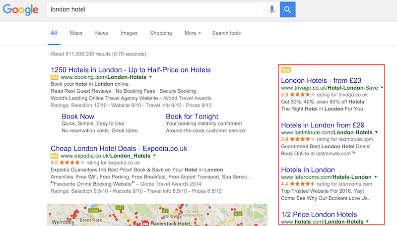 london hotel Google Search with right hand side ads