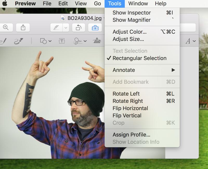 como redimensionar uma imagem em um mac