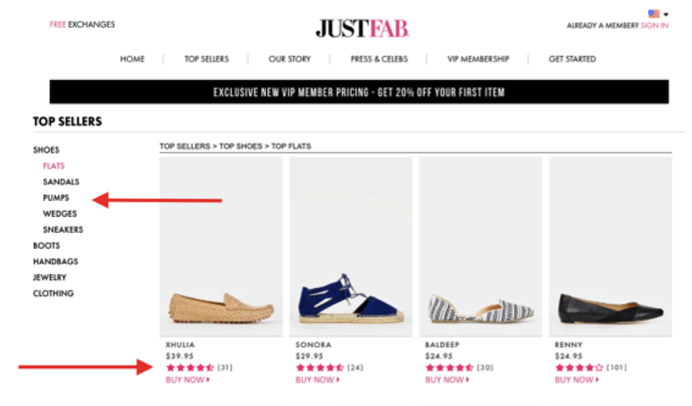just fab product page