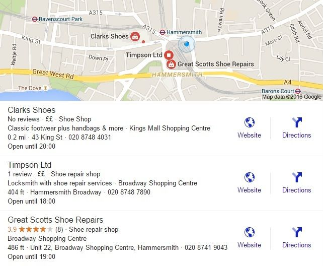 A screenshot of the new wider three-pack of local search results, showing three types of shoe shop near Hammersmith. Each shop is given a short description, plus an exact location (e.g. Kings Mall Shopping Centre), a distance away (e.g. 0.2 miles), a street address (e.g. 43 King Street) and a phone number, with opening hours below.