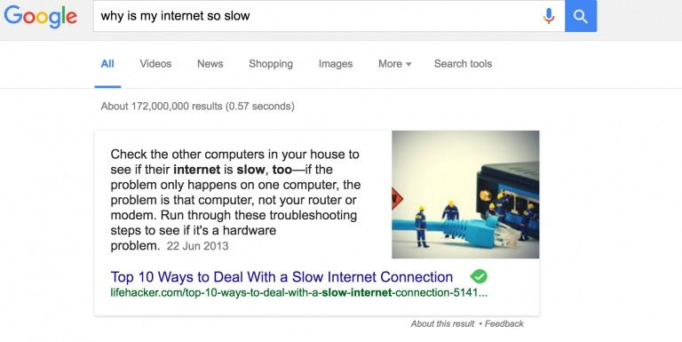 "A featured snippet for the search query, ""Why is my internet so slow"", featuring an answer from Lifehacker at the top of search results."