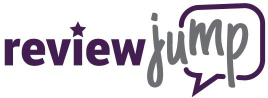 "The logo for reputation management company ReviewJump: the word ""review"" in purple sans serif font with a star over the I, next to the word ""jump"" in grey cursive font with a purple speech bubble outline behind it."