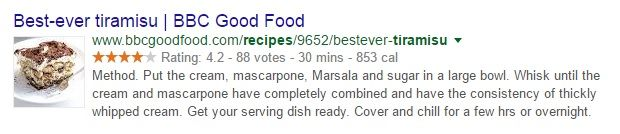 """A search result for a tiramisu recipe from BBC Good Food. The recipe is called """"Best-ever tiramisu"""" and features a star rating of 4.2 and shows an assembly time of 30 minutes and a calorie count of 853 calories. It has a picture of the dessert to the left, and underneath is an extract from the recipe's method."""