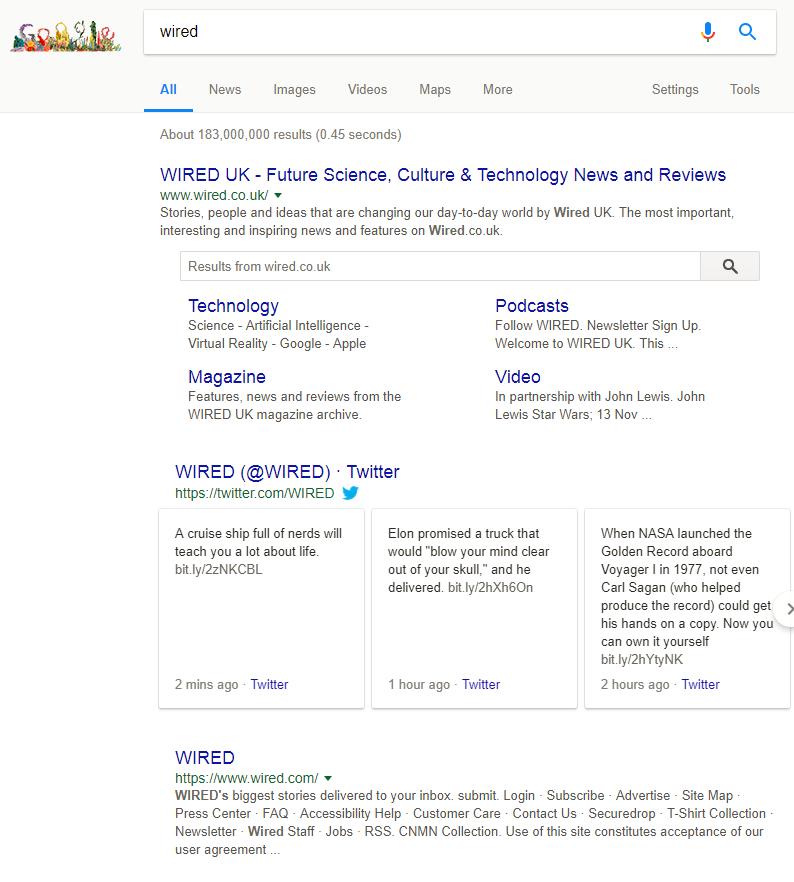 zoekvak voor sitelinks