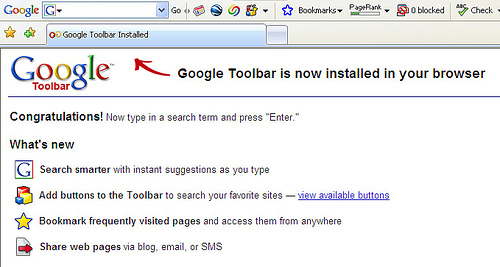 Google Toolbar's Hello I'm Here Page