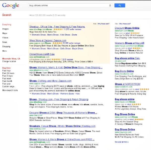 Google SERP Buy Shoes Online