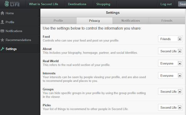 Second Life Privacy Settings