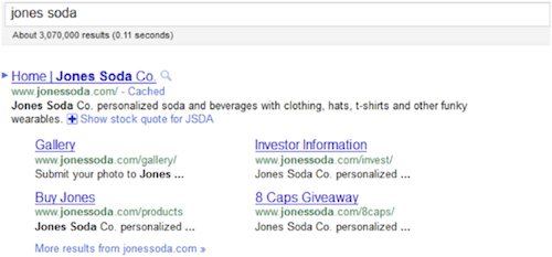 jones-soda-google-sitelinks-2011