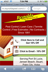 Reynolds Pest Control mobile landing page with click-to-call promotion