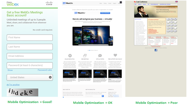 3 Mobile Landing Pages