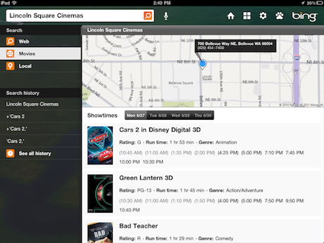 Bing for iPad give Movies the spotlight