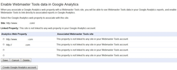 GWT Enable Webmaster Tools Data in Google Analytics