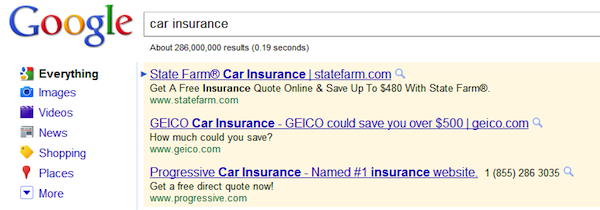 AdWords Car Insurance Example